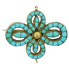 Victorian 18K Gold and Turquoise Pin