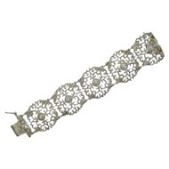 Sterling Silver 1959 Wide Pierced Floral Bracelet