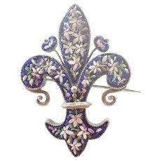 Italian Micro-Mosaic Florentine Fleur de Lis on Silver Pin