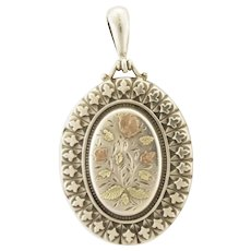 Victorian Sterling Silver Locket with Gold Overlay Flowers