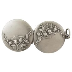 French Art Nouveau Silver Lily of Valley Locket