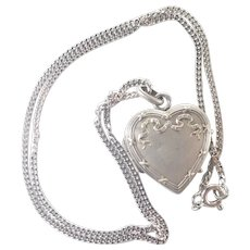 French Art Nouveau Silver Heart Locket and Chain