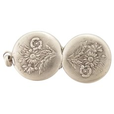 French Antique Silver Flower Posy Locket