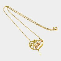 French Art Nouveau Gold Plated Polychrome Flowers Necklace