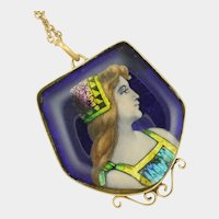 French 1900 Limoges Enamel Plaque Necklace - Bardonnaud