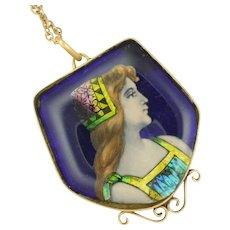French 1900 Limoges Enamel Plaque Necklace - Bardonnaud