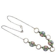 BERNARD INSTONE Art Deco Silver Enamel Floral Necklace