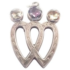 Victorian Silver and Gemstones Double Hearts pendant