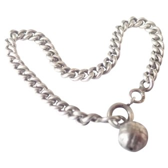 French Antique Silver Ball Chain Bracelet