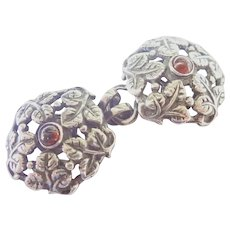 French Antique Silver and Garnet Cape Clasp