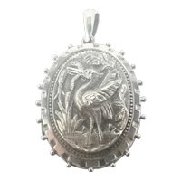 Victorian Sterling Silver Crane and Eel Locket