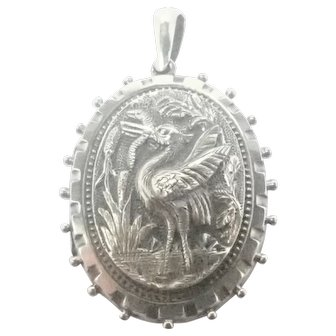 Victorian Sterling Silver Crane and Snake Locket