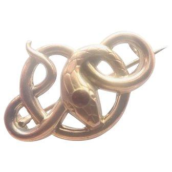 French Art Nouveau 18K Gold Filled Snake Pin - FIX