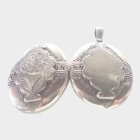 Victorian Sterling Silver Locket with Hair Memorial