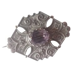 Victorian Sterling Silver Amethyst Pin