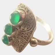 German 900 Silver and Green Pastes Ring