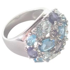 Chunky Sparkling Gemstones on Sterling Silver Ring