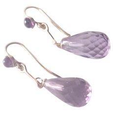 9 Carat Gold and Amethyst Drop Earrings - Pierced Ears