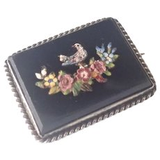 Victorian Italian Micro-Mosaic Silver Framed Pin