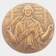 French Art Deco Bronze Medal - E FRAISSE
