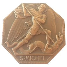 French Art Deco St Michael Bronze Medal - P Turin