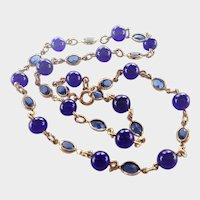 French Gold Plated and Blue Glass Bead Necklace