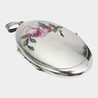 Art Deco Alpacca Enamel Rose Locket
