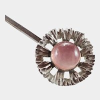 N E FROM - Denmark Modernist Silver Rose  Quartz Pendant Necklace