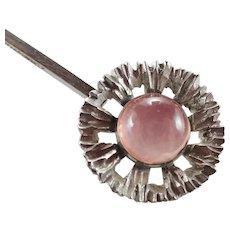 N E FROM - Denmark Modernist Silver Rose  Quartz Pendant Necklace