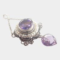 Antique Silver Amethyst Seed Pearls Pendant Necklace