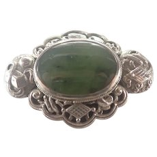 Sterling Silver Nephrite Jade Brooch