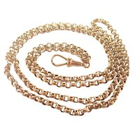 "Victorian 9K Gold Heavy Belcher Chain -34"" -25.5 grams"