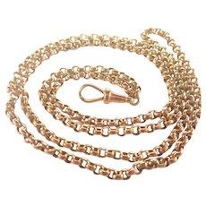 "Victorian 9K Gold Heavy Belcher Chain -34"" -25.5 grams"