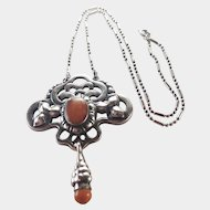 MARIUS HAMMER - Norway Skonvirke 830 Silver Amber Pendant Necklace