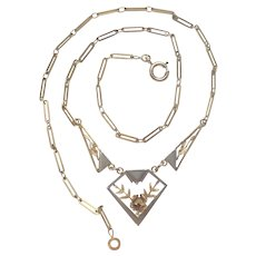 French Art Deco Gold Plated / Laminated Necklace
