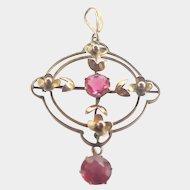 Edwardian 9K Gold and Pink Pastes Pendant