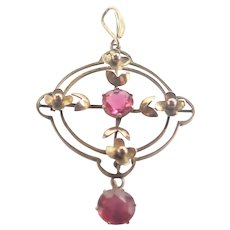 Edwardian 9K Gold and Pink Pastes Pendant