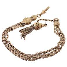 Victorian 9K Gold Albertina Bracelet with Tassel