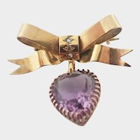 Victorian 9K Gold Bow Pendant Amethyst Heart Drop