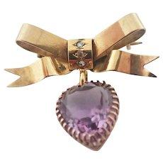 Victorian 9K Gold Bow Pendant Amethyst Heart Drop