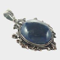 European Circa 1900 800 Silver Sodalite Pendant