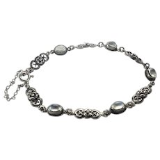 Arts and Crafts Sterling Silver and Moonstone Bracelet