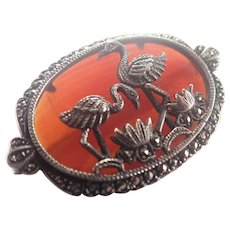 Silver and Carnelian Agate Flamingos Pin