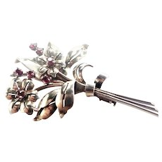 French Art Deco Silver and Rubies Flower Spray Pin