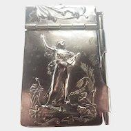 French Art Nouveau Silver Plated Aide Mémoire - E Dropsy