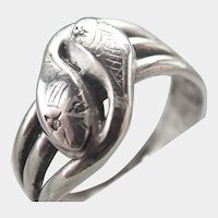 Victorian Sterling Silver and Diamond Chips Snake Ring