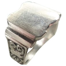 French 19C Silver Signet Ring