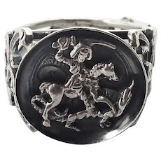 Victorian St. George and Dragon Silver Ring