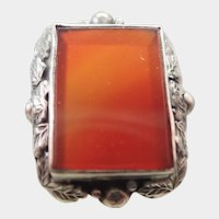 Arts and Crafts Silver and Carnelian Agate Ring