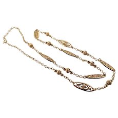 French Gold Plated Decorative Chain Necklace